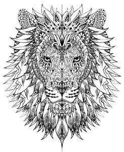 mindfulness colouring sheets free pdf printable lion's head