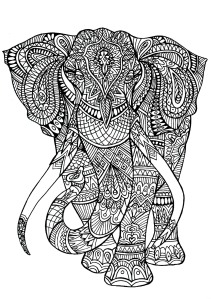 mindfulness colouring free pdf elephant