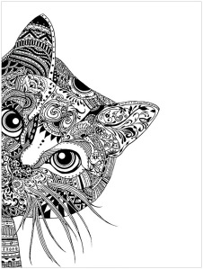 mindfulness colouring sheet pdf intricate cat