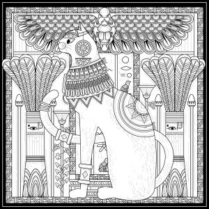 mindfulness colouring sheet pdf Egyptian cat