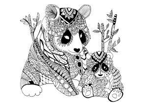 mindfulness colouring sheets pdf panda and baby